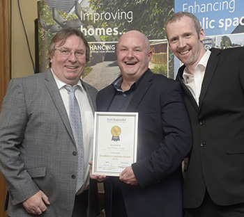 Excellence in Customer Service Winner_Andrew McKay and Steve Cook of Carew Driveways with Tony McCormack